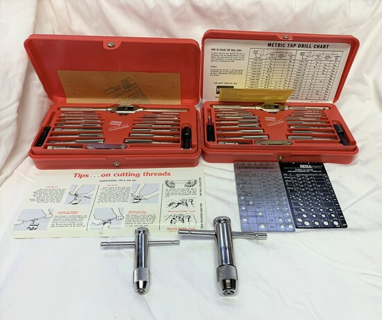 Large group of assorted tools including tap and hex die sets
