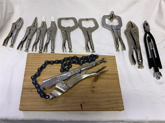 Big Group of Vise Grips  Clamping Pliers (9 total).