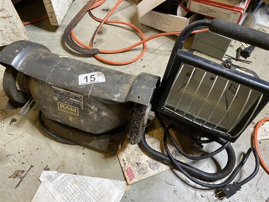 Work Light and Vintage Ram Bench Grinder with Brush