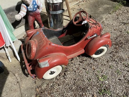 Unusual Antique Compositie Pedal Car