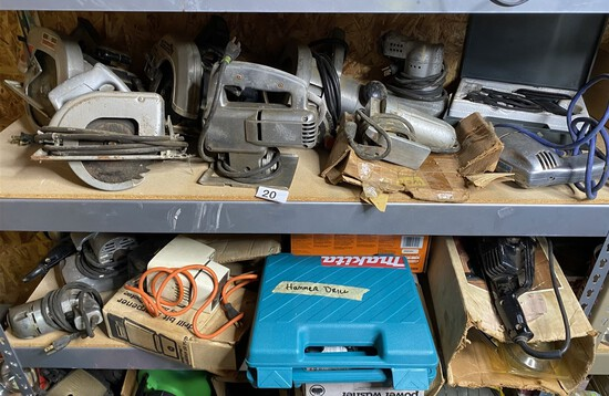 2 Shelves of assorted power tools