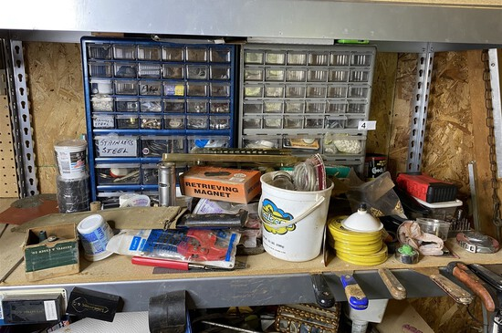 Shelf lot - hardware, tools, assorted old items and more