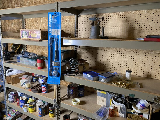 Large lot - shelves clean out - hardware, tools and more