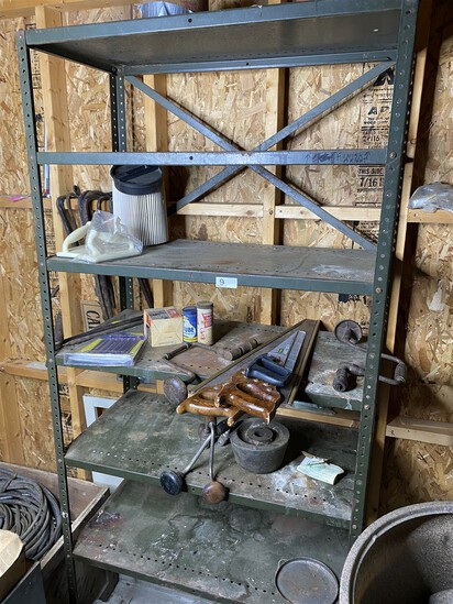 Metal shelf and contents - old tools, saws etc