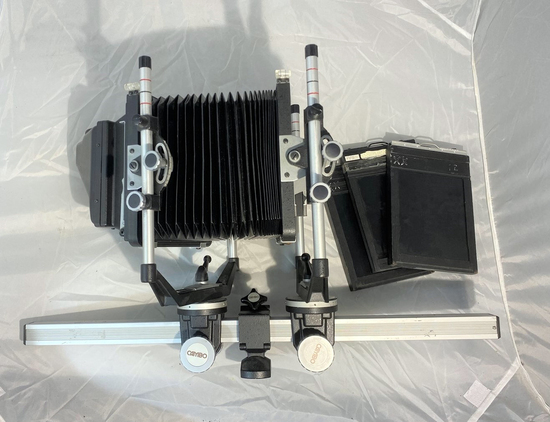 Cambo view camera, viewfinder and accessories