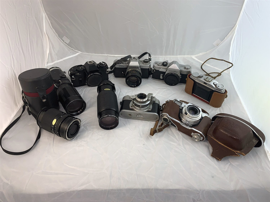 6 Vintage Cameras and 3 Lenses