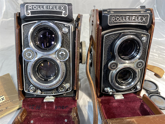 2 Vintage Rolleiflex Cameras in Cases w/Manual