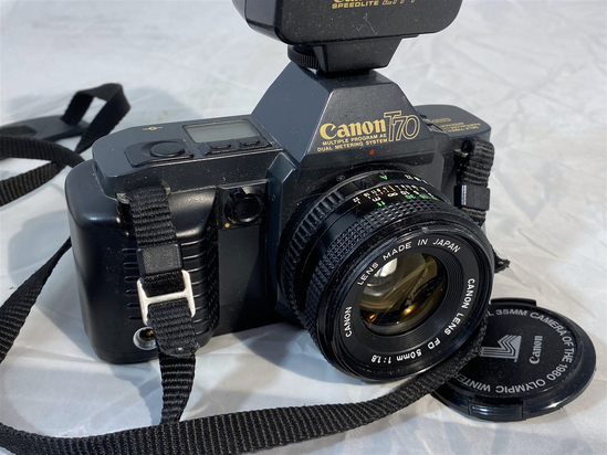 Canon T70 SLR Camera with Flash