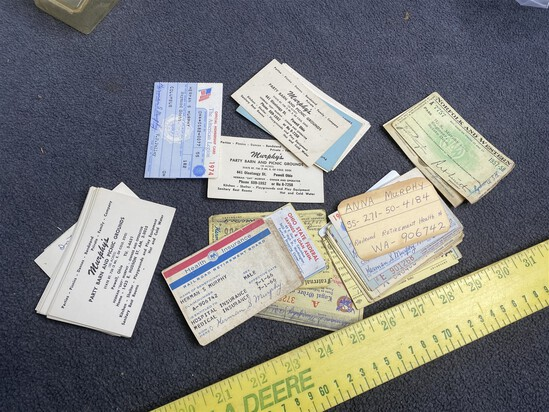 Antique Wallet Contents Lot w/ID Cards, Railroad etc