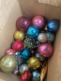 Box lot of early glass Christmas Ornaments, garland