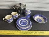 Antique Blue Willow China Including Tea Caddy