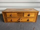 Vintage Wooden Tramp Art Style Folk Art Box