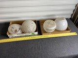 Group lot of vintage glass ceiling lamp shades