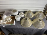 Group lot of Vintage, antique lamp shades, ceiling light covers