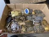 Box lot of assorted vintage belt buckles