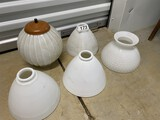 Group lot of antique glass lampshades