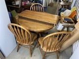 Vintage Oak Wooden Table and Chairs