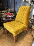 Vintage Mid Century Bright Mustard Upholstered Chair
