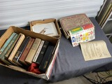 Large number of bird prints, wood project set, books