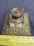 Nice Antique Brass Inkwell w/face and foliate design