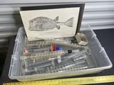 Box lot of lab glass with spirals PLUS Fish print