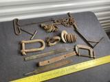 Antique tools lot including blacksmith made