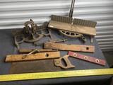 2 Antique Miter Saws including Stanley, Levels etc