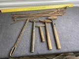 Large lot assorted blacksmith tools etc