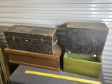 Group lot of four antique wooden boxes