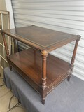 Antique Leather Topped Lamp Table w/drawer