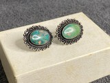 Old Native American Pawn Silver Turquoise Earrings