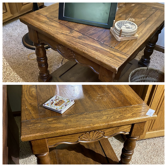Pair of vintage oak end tables