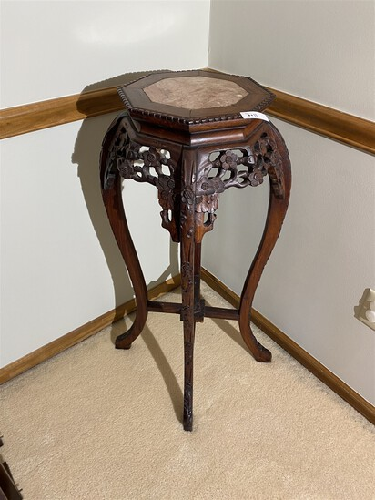 Antique Chinese Plant or Urn Stand w/Marble Insert