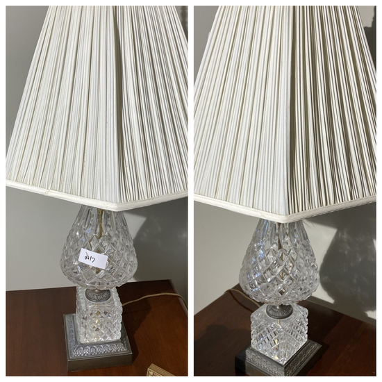 Pair of vintage crystal or glass lamps