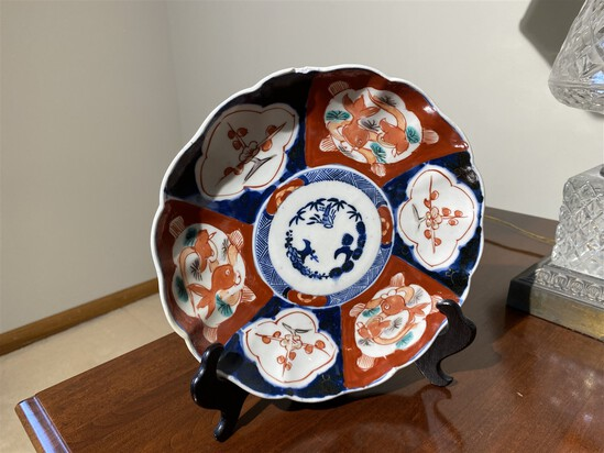 Antique Chineses Decorated Plate with Koi Fish