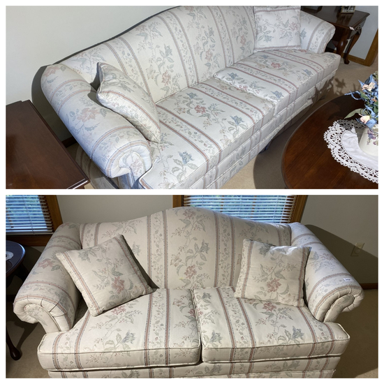 Pair of vintage light colored upholstered couches