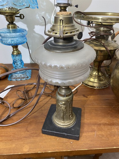 Antique Oil Lamp with fancy base