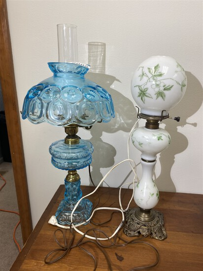 2 Antique Lamps - Blue and Milk Glass