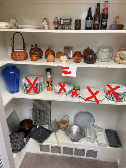 Misc. glass and other vintage items in closet
