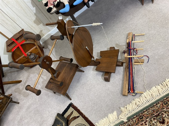 Vintage yarn winder, spinning wheel, inkle loom