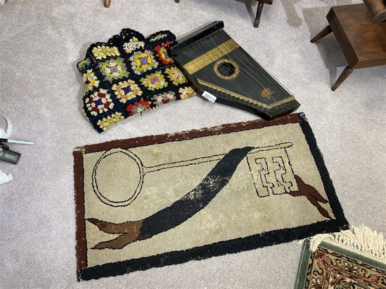 Antique hooked rug, afghan and autoharp