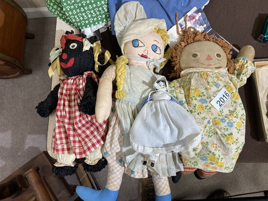 Group lot of three antique rag dolls