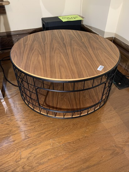 Wire Framed Coffee Table with Wood Top