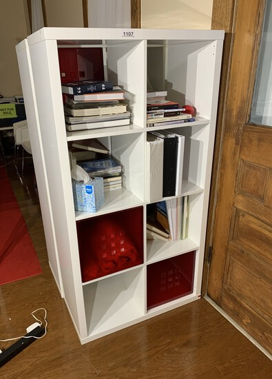 Cube Shelf with 2 Red Storage Inserts and Contents