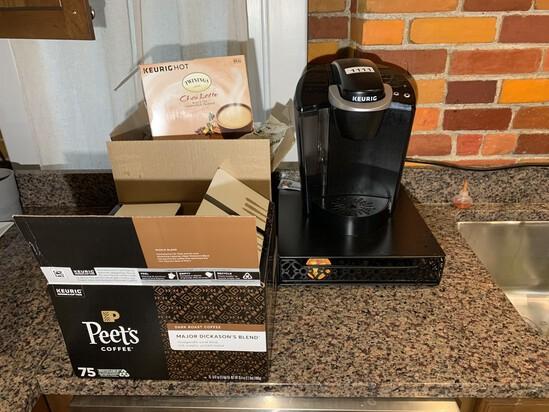 Keurig, Storage Pedestal, & Coffee Pods