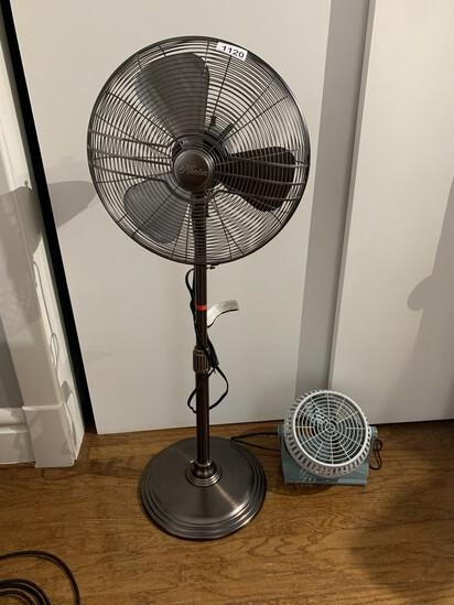 Brushed metal floor fan by Hunter Plus smaller fan