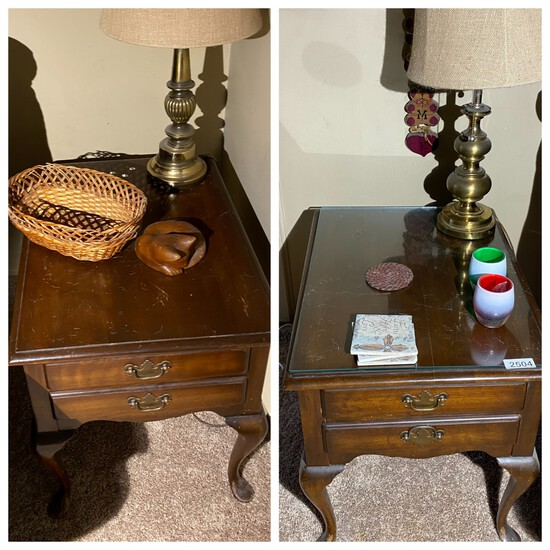 Pair of vintage end tables and brass lamps
