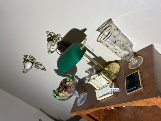 Lamp, wall hangings, misc. vintage items lot