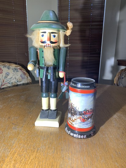 Nutcracker woodsman motif and Budweiser Stein