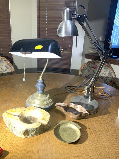 2 desk lamps and Ash Trays